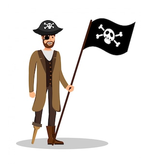 Vergnügter piratenkapitän mit markierungsfahnen-illustration