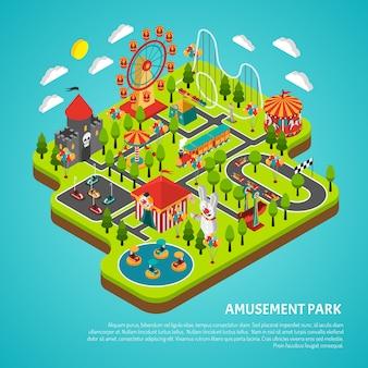 Vergnügungspark-anziehungen rummelplatz-isometrische fahne