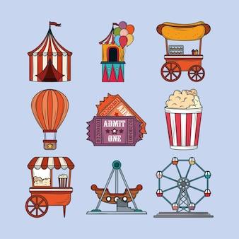 Vergnügungspark-icons gesetzt