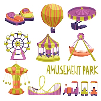 Vergnügungspark icons set