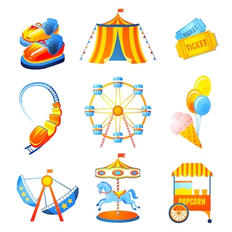 Vergnügungspark icons set