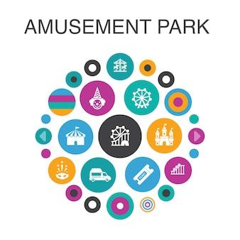 Vergnügungspark infografik kreiskonzept. smart ui-elemente riesenrad, karussell, achterbahn, karneval