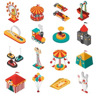 Vergnügungspark isometrische icons sammlung