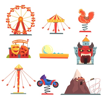 Vergnügungspark mit familienattraktionen satz bunte karikaturillustrationen auf einem weißen hintergrund