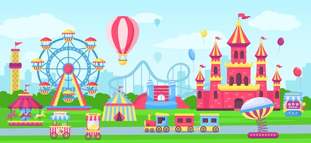 Vergnügungspark mit kirmesattraktionen und fahrgeschäften. cartoon-zirkuszelt, kinderschloss, achterbahn-vektor-illustration
