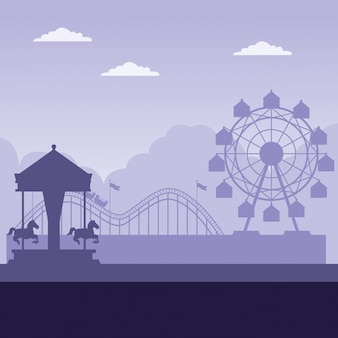 Vergnügungspark mit purpurrotem hintergrund