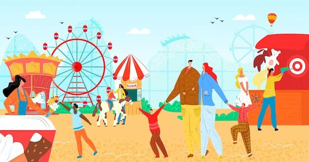 Vergnügungspark mit spaßkarussellillustration. urlaubsunterhaltung, faires rad beim karnevalsfestival für menschen charakter. rollerattraktion auf kirmes, erholungsurlaub.