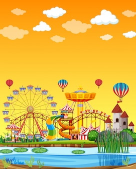 Vergnügungspark mit sumpfszene am tag mit leerem gelbem himmel