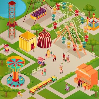 Vergnügungspark mit zirkus und verschiedenen attraktionen street food erwachsene und kinder isometrische illustration