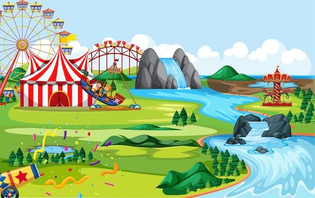 Vergnügungspark mit zirkus und vielen fahrgeschäften landschaftsszene
