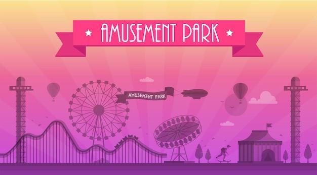 Vergnügungspark - moderne vektorillustration mit landschaftsschattenbild. text auf rosa schleife. riesenrad, attraktionen, bänke, laternen, bäume, skater, zirkuspavillon. heißluftballon, flugzeug