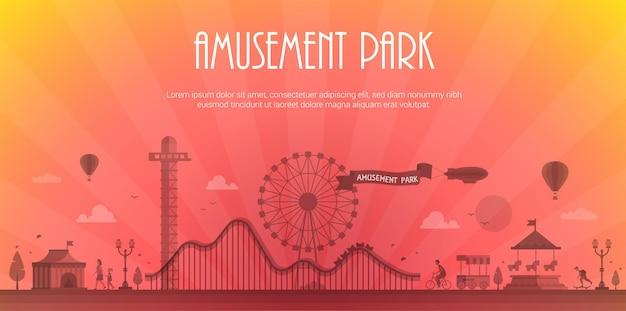 Vergnügungspark - moderne vektorillustration mit platz für text. landschaftssilhouette. riesenrad, attraktionen, bänke, laternen, bäume, zirkuspavillon, karussell, menschen. heißluftballon, luftschiff