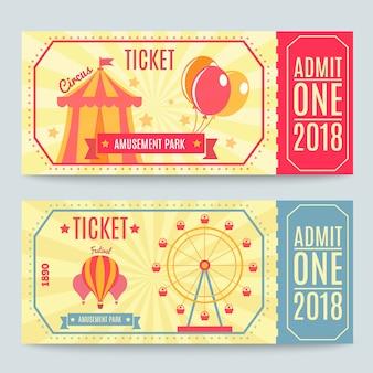 Vergnügungspark tickets set