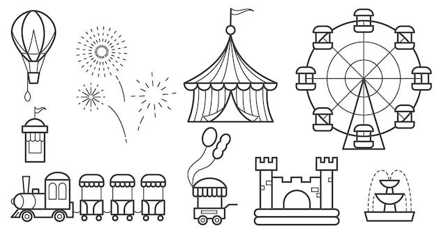 Vergnügungspark umriss set riesenrad zirkus fahrten ballon hüpfburg zug feuerwerk brunnen