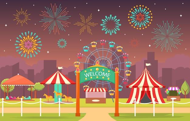Vergnügungspark-zirkus-karnevals-festival-spaß-messe mit feuerwerks-landschaftsillustration