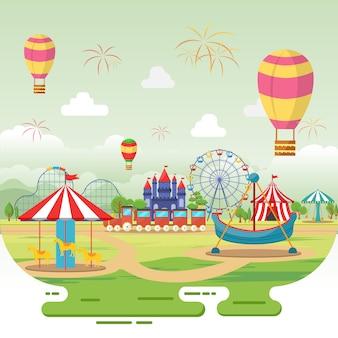 Vergnügungspark-zirkus-karnevalsfest-spaß-angemessene landschaftsillustration