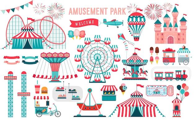 Vergnügungspark zirkus und fun fair thema mit achterbahnen karussells schloss luftballon gesetzt