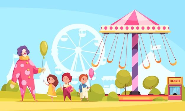 Vergnügungsparkkarikaturhintergrund mit dem clown, der luftballone zu den kindern nahe karussellillustration austeilt