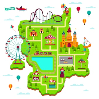 Vergnügungsparkkarte. schema elemente attraktionen festival amüsieren funfair freizeit familie messegelände kinderspiele cartoon karte