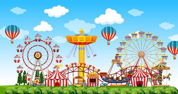 Vergnügungsparkszene tagsüber mit luftballons am himmel
