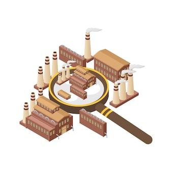 Vergrößerungsglas mit dem kraftwerk, kern, heizgasproduktion lokalisiert. laut summende industrielle außenvektorillustration. lupe und industrie.
