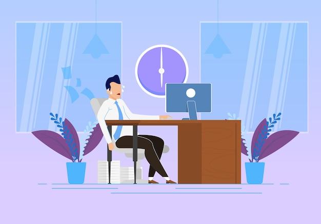Verhaltensänderung bei der arbeits-vektor-illustration. emotionaler stress und körperliche anstrengung bei der arbeit