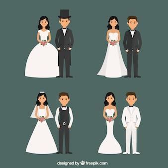 Verheiratete paare mit verschiedenen stilen