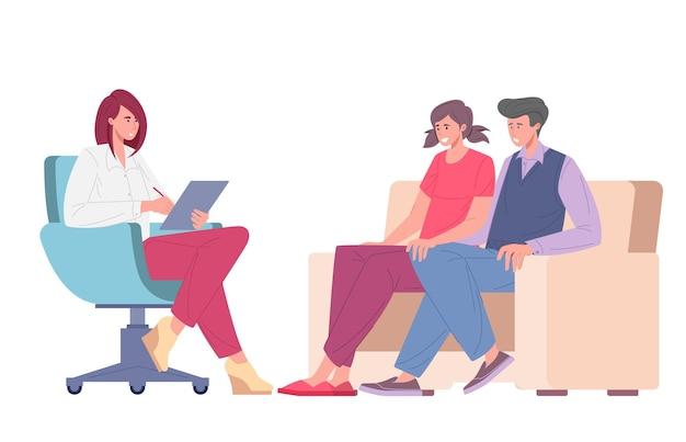 Verheiratetes junges paar beim termin des psychologen. ehekrise, konflikt, beziehungsproblem. flache cartoon-vektor-illustration der familienpsychotherapie.