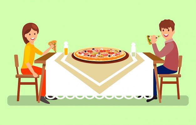 Verheiratetes paar, das vektor-illustration zu abend isst