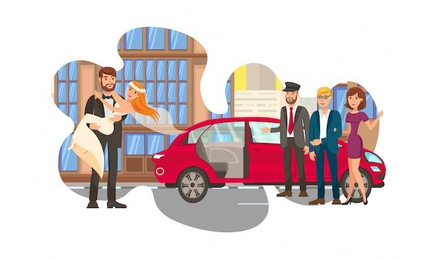 Verheiratetes paar, eben weds flat color illustration