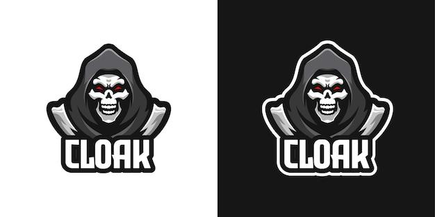 Verhüllter schädel halloween-maskottchen-charakter-logo-vorlage