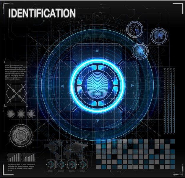 Verifizierungsscanner eingestellt. fingerscan im futuristischen stil. biometrische id mit futuristic