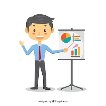 Verkäufer, der diagramme darstellt