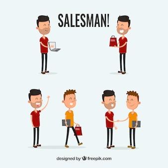 Verkäufer in verschiedenen situationen