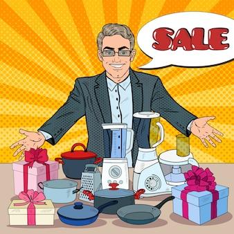 Verkäufer mit haushaltsgeräten