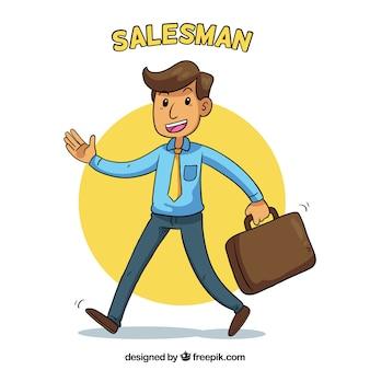 Verkäufer mit koffer