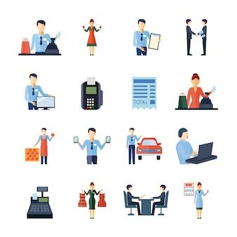 Verkäufer shopman grundstücksmakler und andere verkäuferzahlen ikonen eingestellt