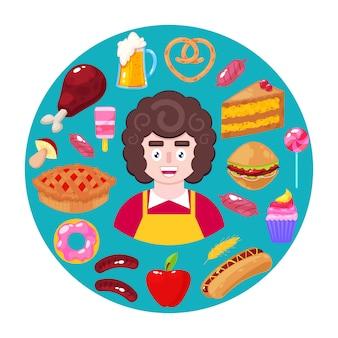 Verkäufer und fast food