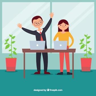 Verkäufer und verkäuferin im büro