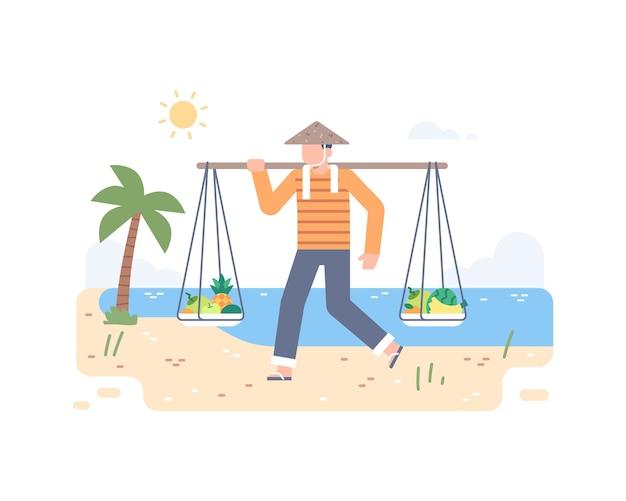 Verkäufer von sommerfrüchten am strand