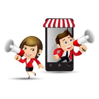 Verkäufer zum online-shopping