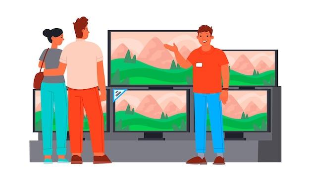 Verkäuferberater im unterhaltungselektronikgeschäft zeigt ein neues junges fernsehpaar.
