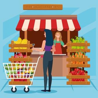 Verkäuferfrau und kundenillustration, einzelhandelskauf des shopspeicher-markteinkaufens und zahlen