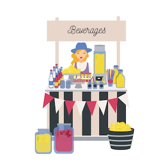 Verkäuferin, die an der theke, am stand oder am kiosk mit zitronen, limonade und anderen alkoholfreien getränken steht. mädchen, das erfrischende getränke auf lokalem bauernmarkt verkauft. illustration im flachen cartoonstil.