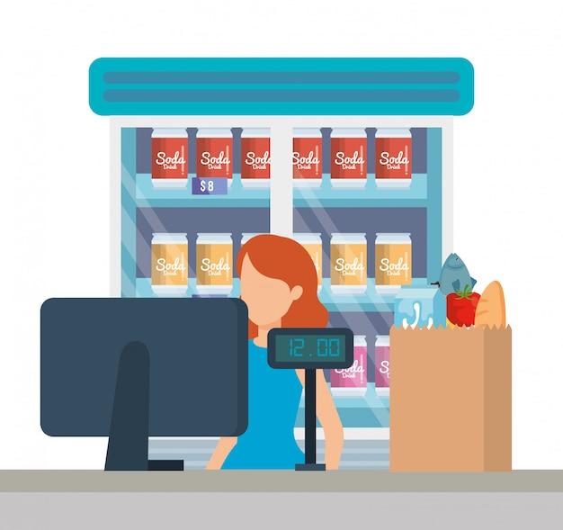 Verkäuferin, die im supermarktverkaufspunkt arbeitet