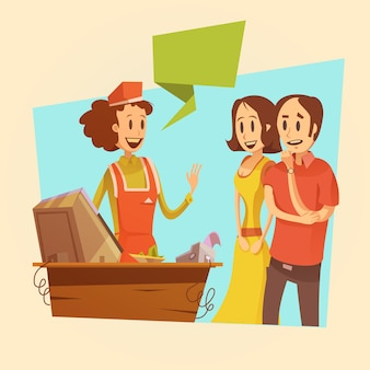 Verkäuferin und kunden am retro- hintergrund des lohnschreibers