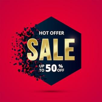 Verkauf abstraktes banner mit explosionseffekt. black friday 50 prozent rabatt auf discont. dunkelblaue form mit flaumsplitter und goldtext