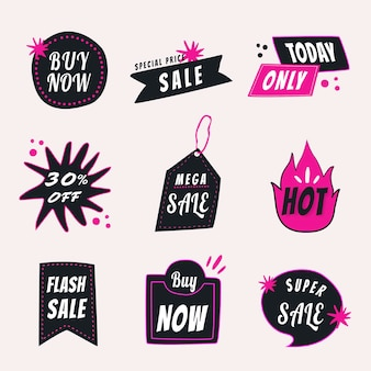 Verkauf-abzeichen-aufkleber, doodle-shopping-clipart-vektor-set