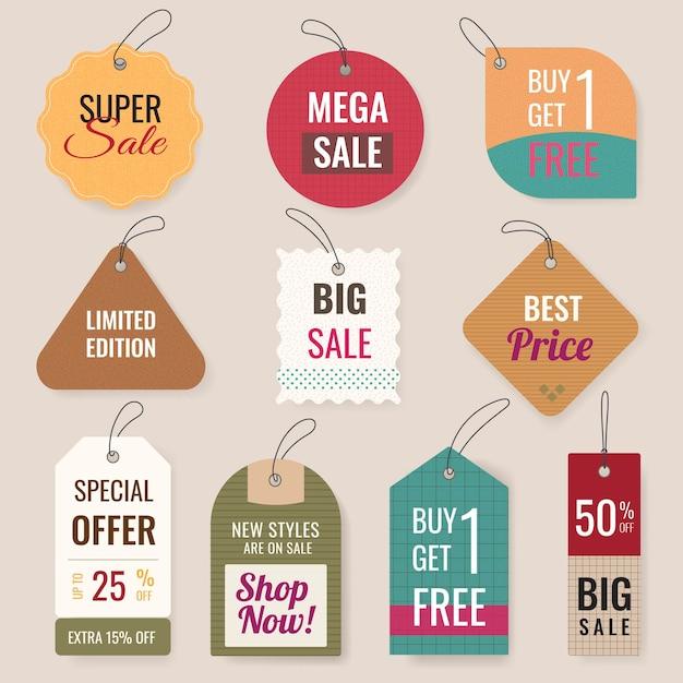 Verkauf-abzeichen-aufkleber, vektor-shopping-clipart-sammlung