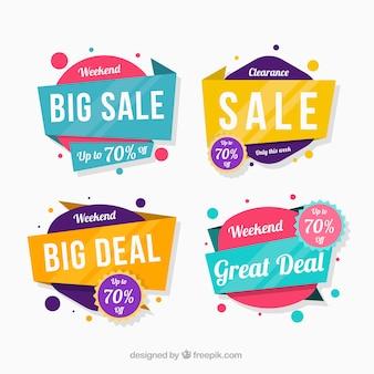 Verkauf abzeichen sammlung im flachen stil